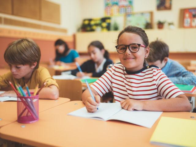 School children studying in class